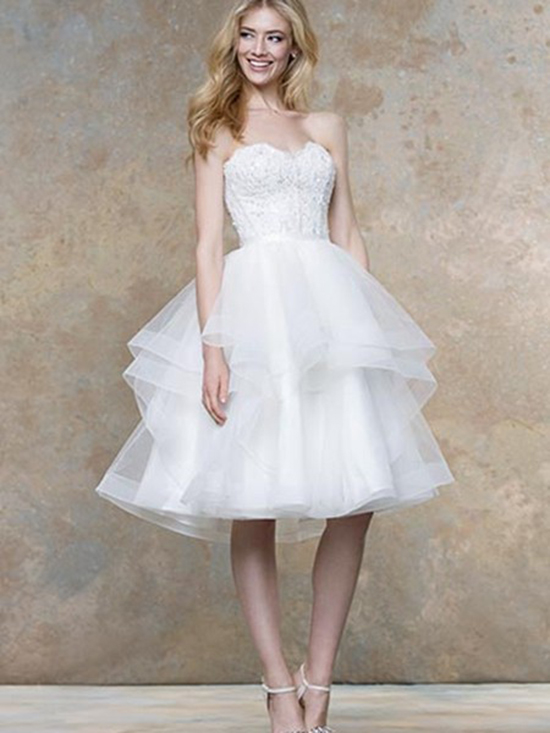 tulle and lace short wedding dress
